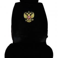 Целиковая накидка из искусственного меха на сиденья автомобиля (Герб России)