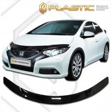 """Дефлектор капота Honda Civic 5D (Серия """"Хром"""" золото) (2012)"""